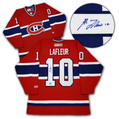 bc558489794 Guy LaFleur Montreal Canadiens Autographed Signed CCM Vintage Hockey Jersey  - Size Medium - Certified Authentic