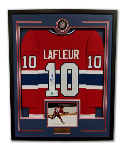 Guy Lafleur Montreal Canadiens Autographed Signed Retro Style 36x44 Framed Hockey Jersey