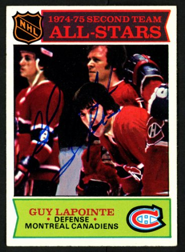 Guy Lapointe Autographed Signed Memorabilia 1975 -76 Topps Card #293 Montreal Canadiens 149977 - Certified Authentic