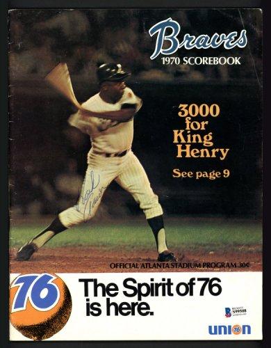 Hank Aaron Autographed Signed 1970 Atlanta Braves Scorebook Atlanta Braves Beckett BAS #S99508