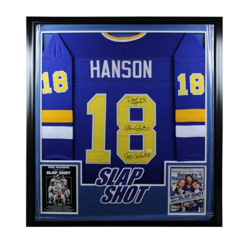 Hanson Brothers All 3 Autographed Signed Deluxe Framed Jersey - JSA Authentic