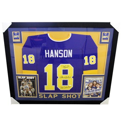 21924d62d32 Hanson Brothers Multi Autographed Signed Framed Jersey w/ Photos Slap Shot  - JSA Certified Authentic