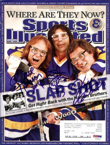 Hanson Brothers Slapshot Autographed Signed Magazine Cover With 3 Signatures Including Steve Carlson Jeff Carlson and Dave Hanson - PSA/DNA Certified