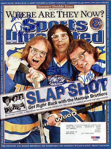 Hanson Brothers Slapshot Autographed Signed Sports Illustrated Magazine With 3 Signatures Including Steve Carlson Jeff Carlson and Dave Hanson - PSA/DNA Certified