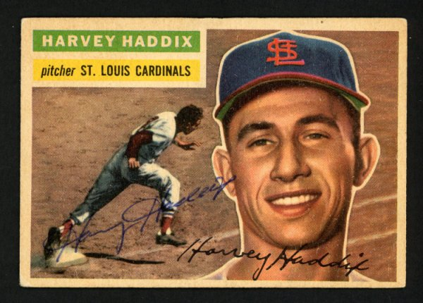 Harvey Haddix Autographed Signed 1956 Topps Card #77 St. Louis Cardinals - Certified Authentic