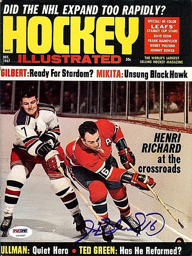 Henri Richard Autographed Signed Magazine Cover Canadiens - PSA/DNA Certified