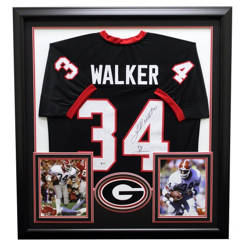 e3659c8baad Herschel Walker Autographed Signed Georgia Bulldogs Framed Black Custom  Jersey - Beckett Certified Authentic