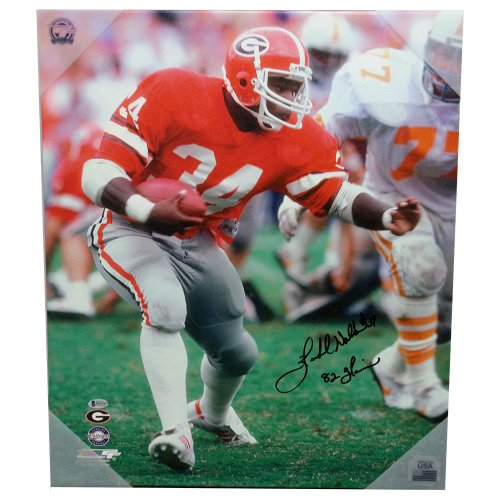49cb60ad5 Herschel Walker Georgia Bulldogs Autographed Signed Canvas Cut with 82  Heisman Inscription - Beckett Certification