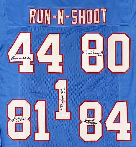 9a8576de Houston Oilers Run & Shoot Autographed Signed Auto Jersey With 5 Signatures  Including Warren Moon HOF