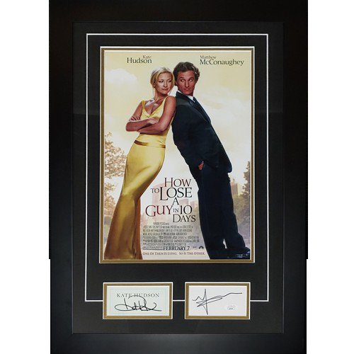 How to Lose A Guy in 10 Days 11X17 Movie Poster Deluxe Framed with Matthew McConaughey And Kate Hudson Autographed Signed Autographs - JSA