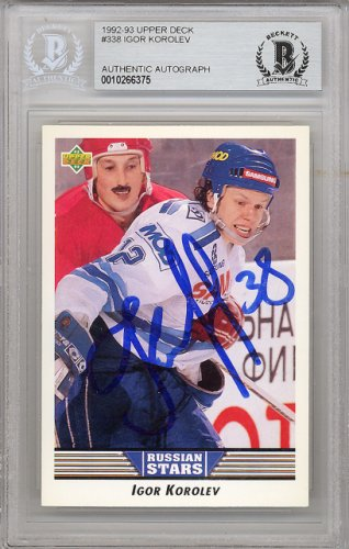 Igor Korolev Autographed Signed 1992-93 Upper Deck Rookie Card #338 St. Louis Blues - Beckett Authentic