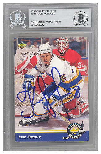 Igor Korolev Autographed Signed 1992-93 Upper Deck Rookie Card #581 St. Louis Blues - Beckett Authentic