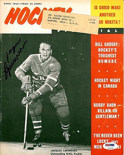 Jacques Laperriere Autographed Signed Magazine Cover Canadiens - PSA/DNA Certified