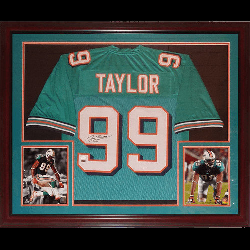 Jason Taylor Autographed Signed Miami Dolphins (Teal #99) Deluxe Framed Jersey - JSA
