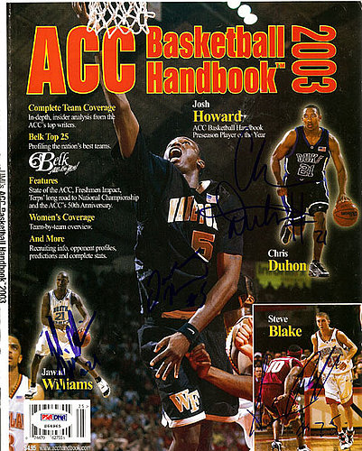 Jawad Williams Josh Howard Chris Duhon and Steve Blake Autographed Signed Magazine Cover - PSA/DNA Certified