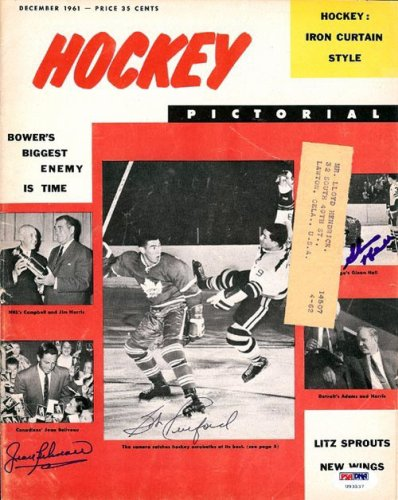 Jean Beliveau Glenn Hall and 1 Other Autographed Signed Magazine Cover - PSA/DNA Certified
