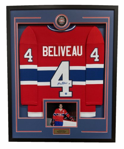 Jean Beliveau Montreal Canadiens Autographed Signed Retro Style 36x44 Framed Hockey Jersey
