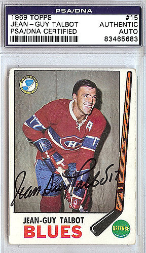Jean-Guy Talbot Autographed Signed 1969 Topps Card #15 - PSA/DNA Certified