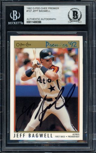 Jeff Bagwell Autographed Signed 1992 O-Pee-Chee Premier Card #107 Houston Astros Beckett BAS #11488396