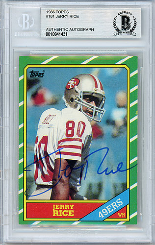 f223ef67 Jerry Rice Autographed Signed 1986 Topps Rookie Card #161 San Francisco  49ers - Beckett Authentic