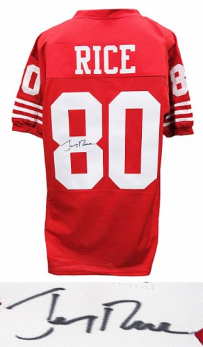 Jerry Rice Autographed Signed Red Throwback Custom Football Jersey