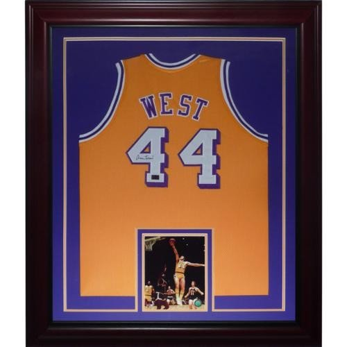 Jerry West Autographed Signed Auto Los Angeles Lakers Yellow  44 Deluxe  Framed Jersey - Certified 03c932a5f