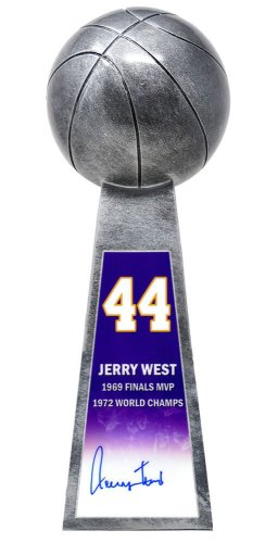 Jerry West Autographed Signed Basketball Champion 14 Inch Replica Silver Trophy
