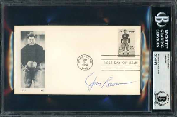 Jim Brown Autographed Signed First Day Cover Cleveland Browns Beckett BAS 11484875