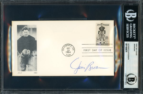 Jim Brown Autographed Signed First Day Cover Cleveland Browns Beckett BAS 11484876