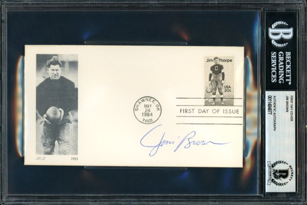 Jim Brown Autographed Signed First Day Cover Cleveland Browns Beckett BAS 11484877