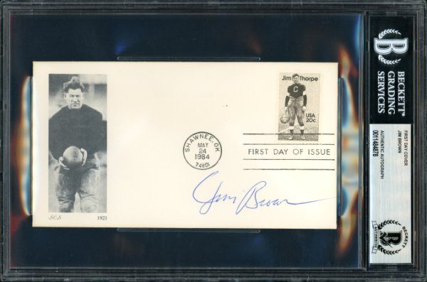 Jim Brown Autographed Signed First Day Cover Cleveland Browns Beckett BAS 11484878