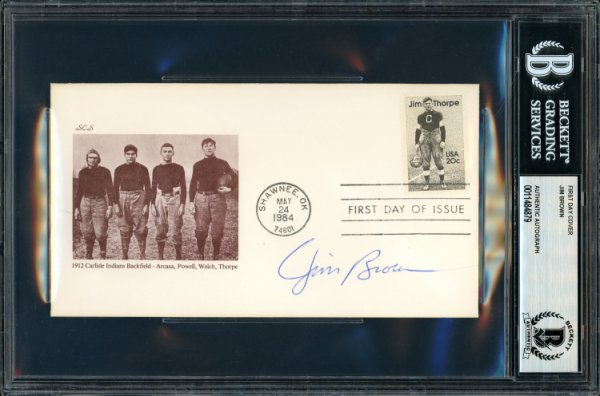 Jim Brown Autographed Signed First Day Cover Cleveland Browns Beckett BAS 11484879