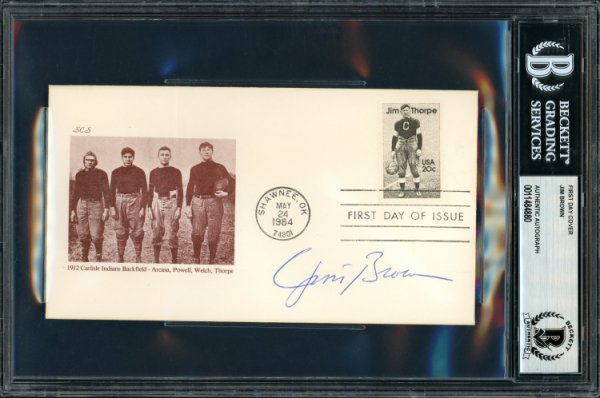 Jim Brown Autographed Signed First Day Cover Cleveland Browns Beckett BAS 11484880