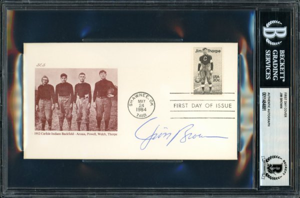 Jim Brown Autographed Signed First Day Cover Cleveland Browns Beckett BAS 11484881