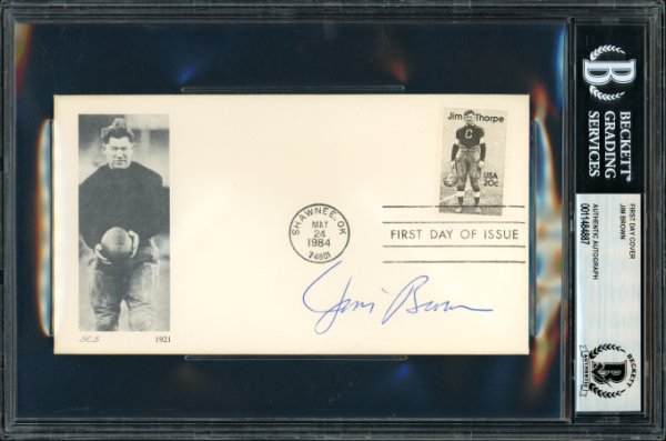 Jim Brown Autographed Signed First Day Cover Cleveland Browns Beckett BAS 11484887