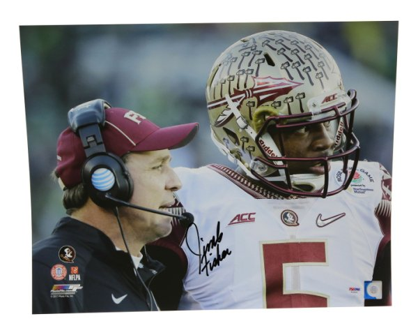 Jimbo Fisher Autographed Signed 16x20 Photo Florida State Seminoles Sideline Focus - PSA/DNA Certified