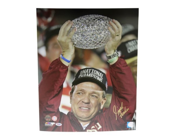 Jimbo Fisher Autographed Signed 16x20 Photo Florida State Seminoles Trophy Hoist - PSA/DNA Certified
