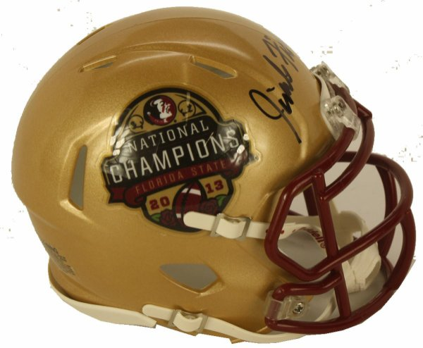 Jimbo Fisher Autographed Signed 2013 Champions BCS Logo Riddell Speed Mini Helmet - Certified Authentic