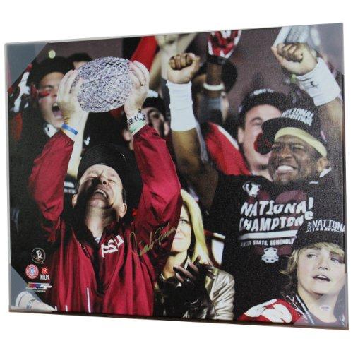 Jimbo Fisher Autographed Signed FSU Seminoles 24x30 Canvas Print Holding Trophy - Horizontal - PSA/DNA Authentic