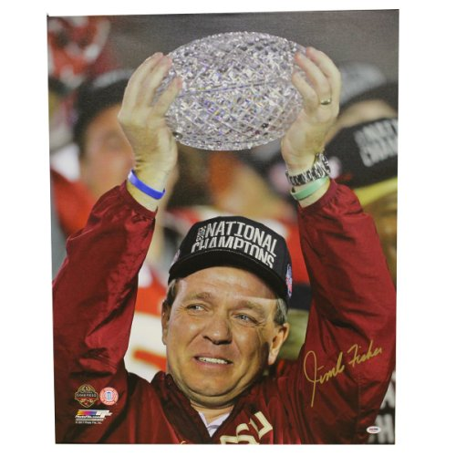 Jimbo Fisher Autographed Signed FSU Seminoles 24x30 Vertical Canvas Print - Holding Trophy Close-Up Shot - PSA/DNA Authentic