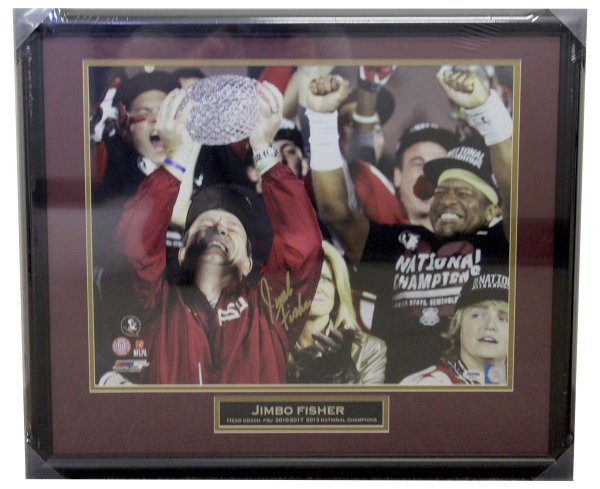 Jimbo Fisher FSU Framed 16x20 Photo with Name Plate - Trophy Tears - PSA/DNA