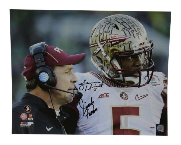 Jimbo Fisher & Jameis Winston Autographed Signed 16x20 Photo Florida State Seminoles Sideline Focus - PSA/DNA Certified