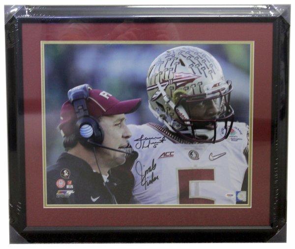 Jimbo Fisher & Jameis Winston FSU Seminoles Autographed Signed Framed 16x20 Photo Sideline Talking - PSA/DNA Certified