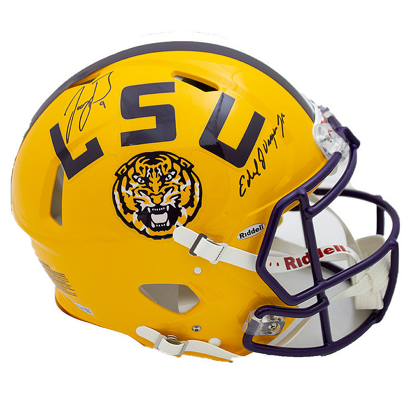 Joe Burrow Coach O Signed Autographed Yellow LSU Tigers Riddell Speed Replica Helmet - JSA Authentic/Fanatics Hologram
