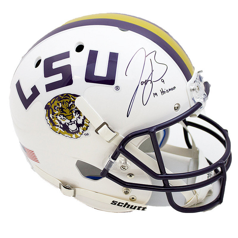 Joe Burrow Signed Autographed White LSU Tigers Schutt Replica Helmet - 19 Heisman Inscription - JSA Authentic/Fanatics Hologram