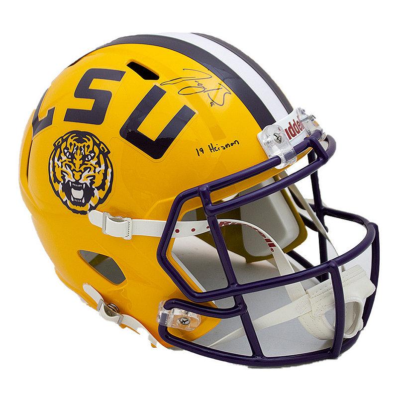 Joe Burrow Signed Autographed Yellow LSU Tigers Riddell Speed Replica Helmet 19 Heisman Inscription - JSA Authentic/Fanatics Hologram