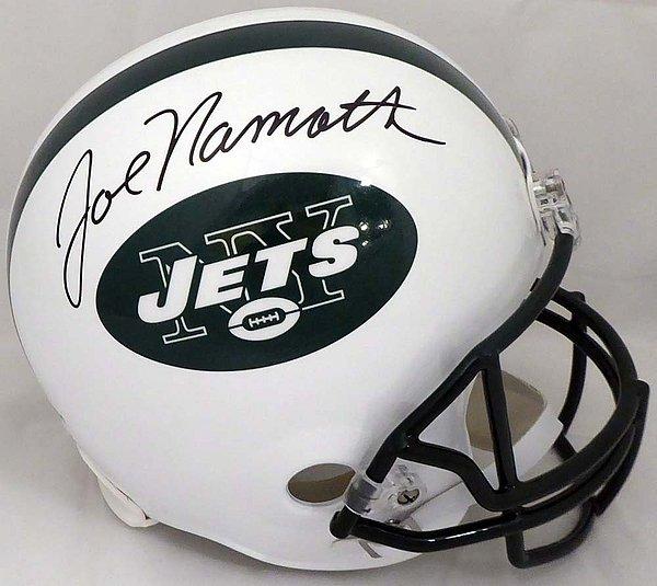 e9b87376 Joe Namath Autographed Signed Memorabilia New York Jets Full Size Replica  Helmet - Beckett Authentic