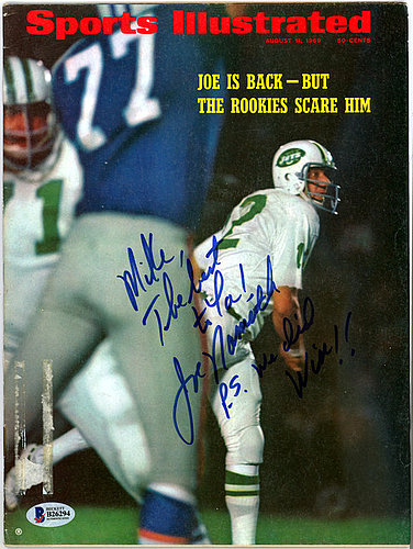 9ef6920f229 Joe Namath Autographed Signed Sports Illustrated Magazine New York Jets To  Mike - Beckett Certified
