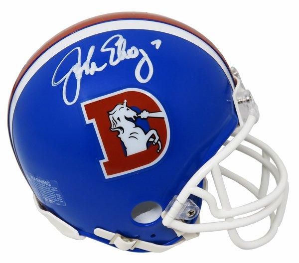 John Elway Autographed Signed Broncos Throwback 'D' Riddell Mini Helmet