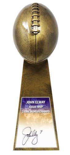 John Elway Autographed Signed Football World Champion 15 Inch Replica Gold Trophy